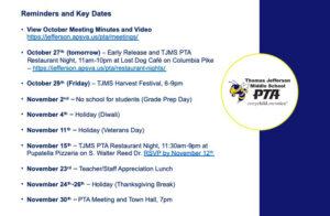 October PTA Meeting Key Upcoming Dates